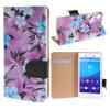 MOONCASE Sony Xperia M4 ЧЕХОЛДЛЯ Flower Style Leather Flip Wallet Card Slot Bracket Back Purple