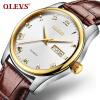 OLEVS Fashion Brand Ladies Auto Date Watches Коричневая кожа для женского розового золота Кварцевые часы Женские повседневные наручные часы роскошные золотые часы женские кварцевые стальные наручные часы повседневные женские наручные часы женские часы