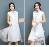 2018 новый китайский стиль ретро поддельные два дамы долгое изменение платье cheongsam красный ретро длинные midi изменение добро ритуальна одежда шоу выполнении долго cheongsam платье многоцветный