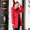 Новая мода Зимняя куртка Long Parkas Теплый хлопок Мягкая пальто Молния Элегантные с капюшоном дамы Куртки Пальто Женская верхняя одежда