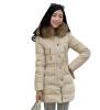 Женщины Зимняя меховым воротником пальто утка вниз с капюшоном куртка Тонкий Длинные Куртка Верхняя одежда