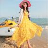 Lovaru ™Чешский летом шифоновое платье отпуск пляж платье V-образным вырезом мыть пол длинная юбка платье жгута