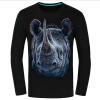 Causul Мужская одежда Night Wolf 3D животных Печатные майка Мужчины, черный хлопок Один-образным вырезом Slim Fit Хип-хоп Футболка Мужская одежда спот 66688 paulmann