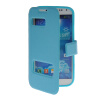 MOONCASE View Window Leather Side Flip Pouch Stand Shell Back ЧЕХОЛДЛЯ Samsung Galaxy S4 I9500 Blue roar korea noble leather stand view window case for iphone 7 4 7 inch orange