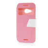 MOONCASE View Window Leather Side Flip Pouch Ultra Slim Shell Back ЧЕХОЛ ДЛЯ HTC One Mini 2 (M8 Mini) Pink