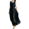 CT&HF Женщины Сексуальная модные платья Женщины Темперамент Сладкий контракту платья без рукавов Корея Pure Color шифоновое платье платья trendy tummy платье
