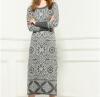 Lovaru ™Европа 2015 новых зимой трикотажные платья оптом женская бутик свитер вязать жаккардовые платья