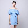 Волк (canis@Sexy женщин лето без рукавов вечернее коктейльное мини-платье пляж платье-----светло-голубой