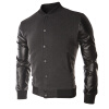 Осень простой дизайн кожа шить спортивные куртки мужские мода Толстовка Бейсбол одежда спортивные куртки