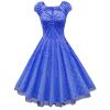 Урожай платье без рукавов лацкане марли большой юбка