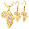 Карта Африки ожерелье серьги ювелирные изделия оптом новые модные 18k настоящее позолоченные горный хрусталь Африканский комплект ювелирных изделий