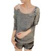 CT&HF Женщины Хук цветок одно плечо пуловер свитер пуловер