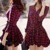 Lovaru ™ 2015 лето стиль женщин моды мини-платье с длинным рукавом V-образным вырезом высокое качество Мягкие и удобные платья полуприлегающее платье с v образным вырезом gf ferre платья и сарафаны мини короткие
