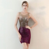 Гладкий градиент Круглая шея Сексуальная окружает бедра Модные коктейльные платья длиной до колена