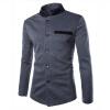 zogaa моды контраст цвета стоять ошейник китайских туника костюм случайные мужской пиджак