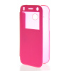 MOONCASE Ultra Thin Leather Side Flip Pouch Hard board Shell Back ЧЕХОЛ ДЛЯ HTC One 2 Mini( M8 Mini ) Hot pink