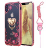 Flower Diamonds Soft TPU Phone Cases for iphone x 8 7 6 5 SE Diamond Luxury Plating Phone Shell with Stand Holder and Sling brushed metal tpu phone back shell for iphone 7 4 7 inch with finger ring kickstand rose gold