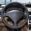 LUNDA DIY Ручная сшитая черная кожаная руля для рулевого колеса для Peugeot 307 New Car Styling