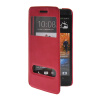 MOONCASE View Window Leather Side Flip Pouch Stand Shell Back ЧЕХОЛДЛЯ HTC One M7 Hot pink roar korea noble leather stand view window case for iphone 7 4 7 inch orange