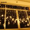 JULELYS 6M x 2M 384 Лампы Fairy Lights Светодиодный занавес для свадебных наружных рождественских гирляндных светильников для праздничных вечеров usb 5m 50leds silver wire strip lights fairy christmas holiday wedding party 1pc