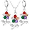 Кубического циркония ювелирные изделия наборы для женщин Платина /18k настоящее позолоченный цветок Роза Кристалл ожерелье серьги набор женщин