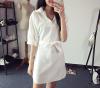 Lovaru ™ Ранняя осень 2015 новой европейской и американской моды темперамент слабее V-образным вырезом рукава летучая мышь ремень чистый цвет платья ф белый свитер летучая мышь