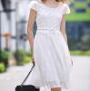 Lovaru ™ 2015 лето Корея Новая ретро постер шифона кружева вышитые короткими рукавами платье в сказочном юбки женские юбки в розницу