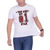 Мужская футболка с круглой вырезкой с короткими рукавами с короткими рукавами Модная хлопковая футболка No.1 Star Letter Digital Print приталенная футболка с короткими рукавами rj приталенная футболка с короткими рукавами