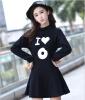 Lovaru ™Длинный рукав пакет хип платье осени свободно хлопок досуг платье черные студенты 2015 Хан Чао женские