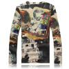 Осенняя Мужская мода высокого класса 3D цветочные печати рубашка с длинным рукавом T-рубашка Бесплатная доставка мужских рубашек