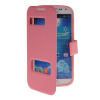MOONCASE View Window Leather Side Flip Pouch Stand Shell Back ЧЕХОЛДЛЯ Samsung Galaxy S4 I9500 Pink xskn protective pu leather case cover stand w visual window for samsung galaxy s4 i9500 pink