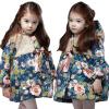 Девочки Малыш Зимний Теплый цветок стеганые пальто куртка Puffer вниз с капюшоном пиджаки