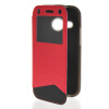 MOONCASE View Window Leather Side Flip Wallet Card Slot Pouch Stand Soft Shell чехол для Htc One Mini 2 ( M8 Mini ) Red nillkin fresh series pu leather phone cover with view window style for htc one mini 2 m8 mini
