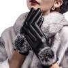 Перли кожаные перчатки PU перчатки дамы осенние и зимние теплые перчатки милый шар для волос кролика плюс кашемир толстый все пальцы перчатки перчатки все черные house of steel padded leather mitts черные перчатки для подвешивания