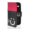 MOONCASE Leather Side Flip Wallet Card Slot Pouch Stand Shell Back ЧЕХОЛ ДЛЯ Samsung Galaxy Core I8260 I8262 Pink Black накладка для samsung i8262 galaxy core