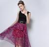 Lovaru ™2 015 станций осень новых мужчин юбки нерегулярные шифон цветы талии Тонкий юбки женские юбки в розницу