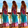 Lovaru ™Новый +2015 Летний стиль Женщины Синий Красный печати Макси платья без рукавов Спагетти ремень Sexy Beach Летний длинное платье