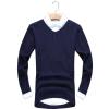 Мужчины Повседневная вязать свитер тонкий трикотаж пуловер перемычки Мода футболка V-образным вырезом пуловер с v образным вырезом