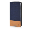 MOONCASE Canvas Design Leather Side Flip Wallet Pouch Stand Shell Back ЧЕХОЛДЛЯ HTC One M9 Dark Blue