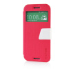MOONCASE View Window Leather Side Flip Pouch Ultra Slim Shell Back ЧЕХОЛ ДЛЯ HTC One M8 Hot pink