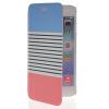MOONCASE Stripe Design Leather Side Flip Wallet Card Slot Pouch Stand Back чехол для Apple iPhone 6 Plus Pink mooncase premium pu flip leather wallet card pouch back чехол для cover apple iphone 6 4 7 красный