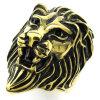 hpolw mens нержавеющей стали черно - золотые украшения, байкер король лев кольцо, готический обаяние лев кольцо футболка рингер printio лев байкер leo biker