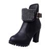 Женский зимний ботинок Мартин пряжкой Руно коренастый высокой пятки Леди мода ботильоны обувь