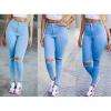 Lovaru ™Новые +2015 моды Свежие высокой талией джинсы колено отверстие ноги новая мода тонкий брюки женские джинсы