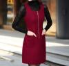 Lovaru ™ 2015 осенью и зимой крупных женщин размер шерсть шерстяной жилет юбка рукавов жилет юбка Тонкий шерстяное платье нижнего skir юбка l077 2015