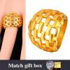 U7 Большой Золотое кольцо Мужчины оптовой продажи ювелирных изделий 18K позолоченный 21мм широкий полые свадьба полосы нержавейки для мужчин
