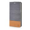 MOONCASE Canvas Design Leather Side Flip Pouch Stand Shell Back ЧЕХОЛДЛЯ Samsung Galaxy Grand Prime G5308W Dark Brown