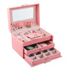 Принцесса Lawei Европейского кейс для хранения зерна кожи розовых ювелирных изделий замка кассеты с зеркальными ювелирными изделиями