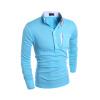 Новый Топ продаж заклинание Цвет мужские футболки простые мужчины Повседневная Slim Fit с длинным рукавом рубашки поло
