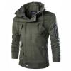 Zogaa мужской пиджак случайные карманы стоять callar чистый цвет слим